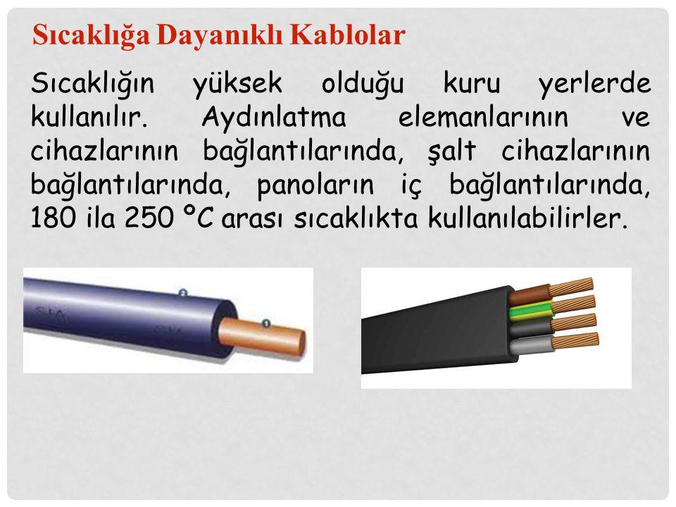 Sıcaklığa Dayanıklı Kablolar Sıcaklığın yüksek olduğu kuru yerlerde kullanılır. Aydınlatma elemanlarının ve cihazlarının bağlantılarında, şalt cihazla