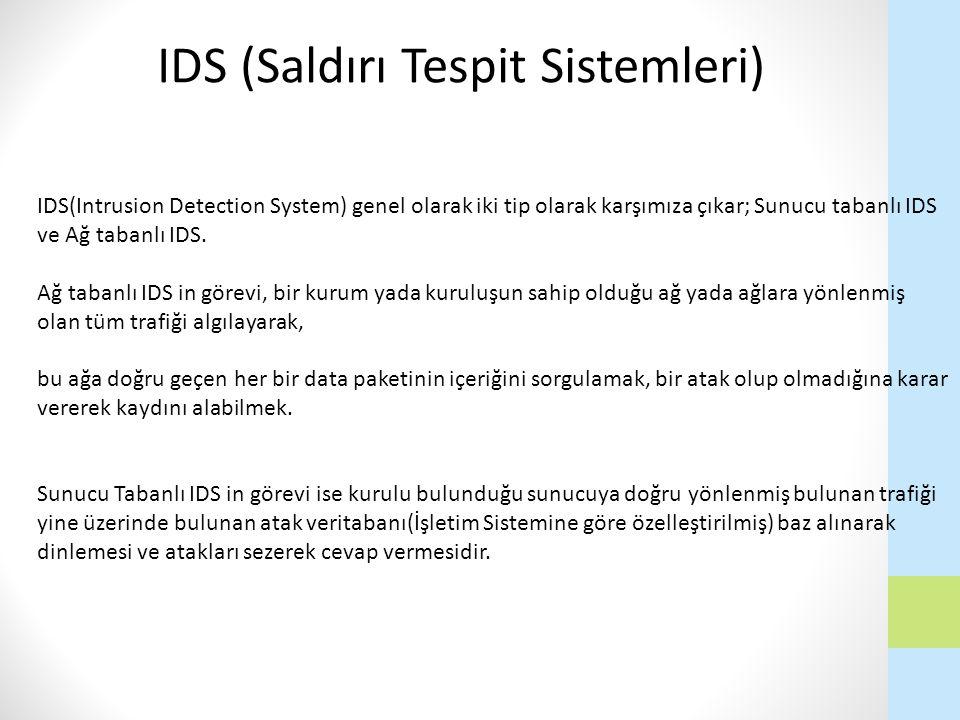 IDS(Intrusion Detection System) genel olarak iki tip olarak karşımıza çıkar; Sunucu tabanlı IDS ve Ağ tabanlı IDS. Ağ tabanlı IDS in görevi, bir kurum