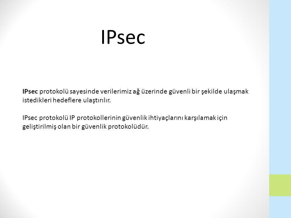 IPsec protokolü sayesinde verilerimiz ağ üzerinde güvenli bir şekilde ulaşmak istedikleri hedeflere ulaştırılır. IPsec protokolü IP protokollerinin gü