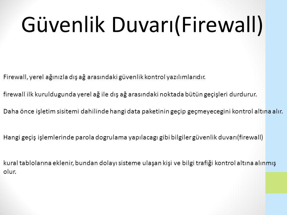 Firewall, yerel ağınızla dış ağ arasındaki güvenlik kontrol yazılımlarıdır. firewall ilk kuruldugunda yerel ağ ile dış ağ arasındaki noktada bütün geç
