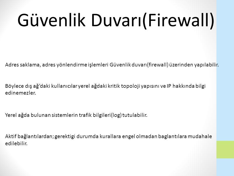 Adres saklama, adres yönlendirme işlemleri Güvenlik duvarı(firewall) üzerinden yapılabilir. Böylece dış ağ'daki kullanıcılar yerel ağdaki kritik topol