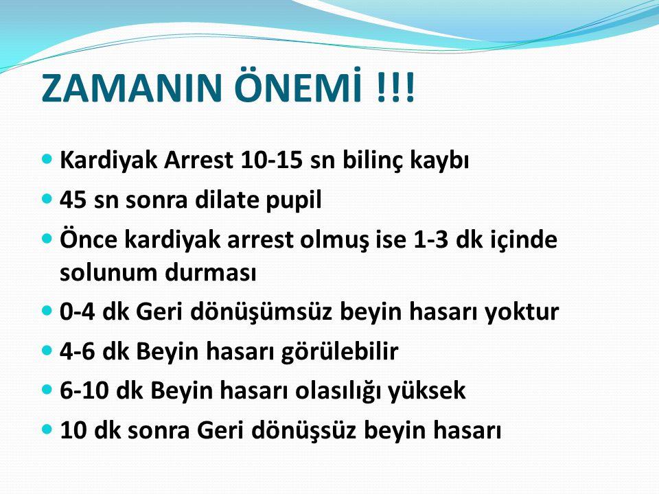 ZAMANIN ÖNEMİ !!! Kardiyak Arrest 10-15 sn bilinç kaybı 45 sn sonra dilate pupil Önce kardiyak arrest olmuş ise 1-3 dk içinde solunum durması 0-4 dk G