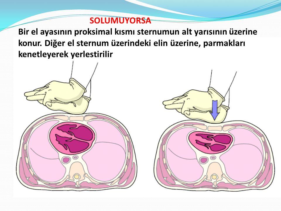 SOLUMUYORSA Bir el ayasının proksimal kısmı sternumun alt yarısının üzerine konur.