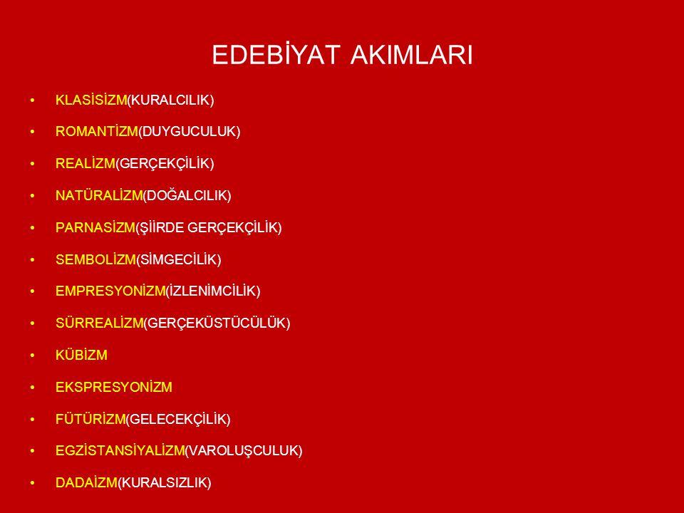 EDEBİYAT AKIMLARI KLASİSİZM(KURALCILIK) ROMANTİZM(DUYGUCULUK) REALİZM(GERÇEKÇİLİK) NATÜRALİZM(DOĞALCILIK) PARNASİZM(ŞİİRDE GERÇEKÇİLİK) SEMBOLİZM(SİMG