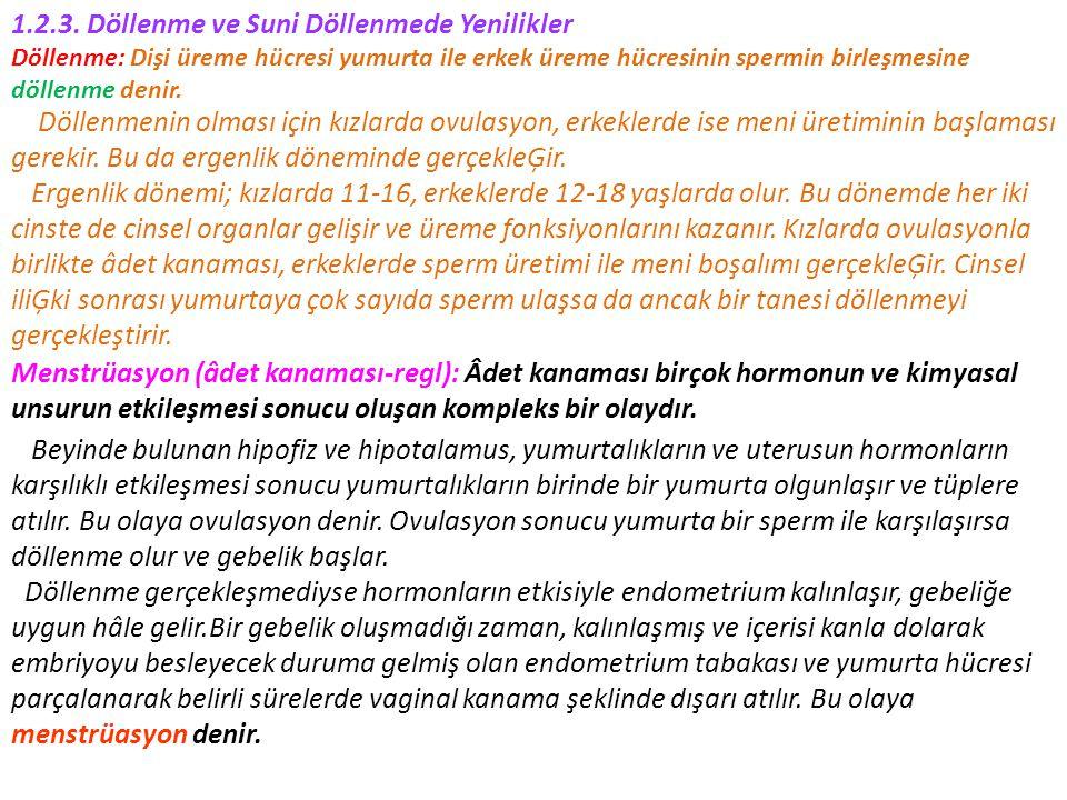 1.2.3. Döllenme ve Suni Döllenmede Yenilikler Döllenme: Dişi üreme hücresi yumurta ile erkek üreme hücresinin spermin birleşmesine döllenme denir. Döl