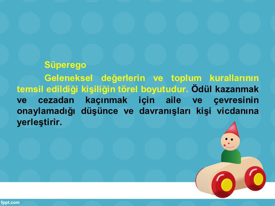 Süperego Geleneksel değerlerin ve toplum kurallarının temsil edildiği kişiliğin törel boyutudur.