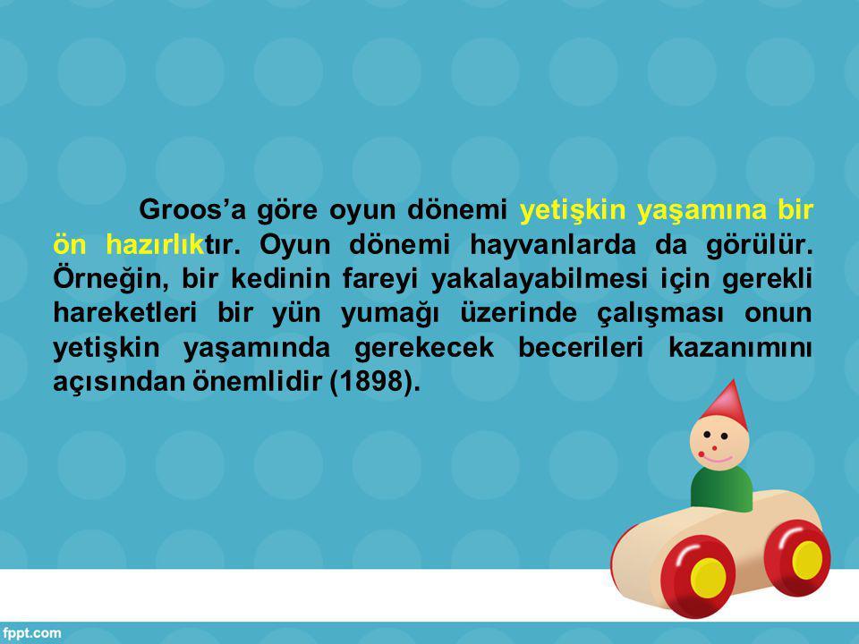 Groos, çocuk oyunlarında becerilerin kazanılmasının yanı sıra oyunda bilincin rolü üzerinde durmuştur.
