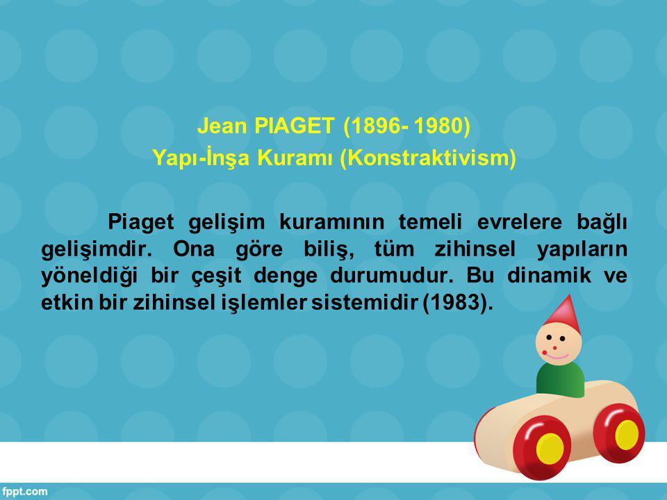 Jean PIAGET (1896- 1980) Yapı-İnşa Kuramı (Konstraktivism) Piaget gelişim kuramının temeli evrelere bağlı gelişimdir.