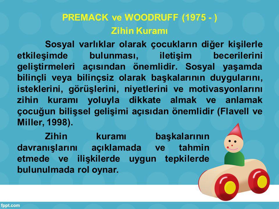 Premack ve Woodruff (1978), zihin kuramını ilk olarak şempanzelerle yaptıkları çalışmalar sonucu geliştiren bilim adamlarıdır.