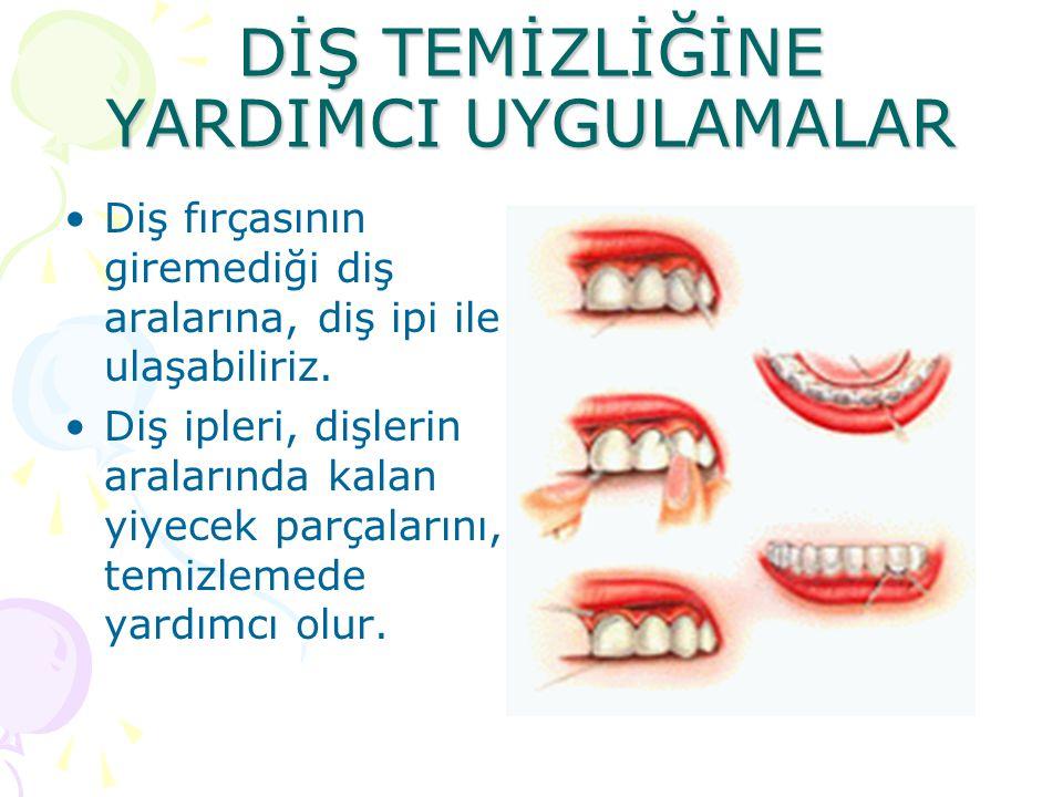 DİŞ TEMİZLİĞİNE YARDIMCI UYGULAMALAR Diş fırçasının giremediği diş aralarına, diş ipi ile ulaşabiliriz.