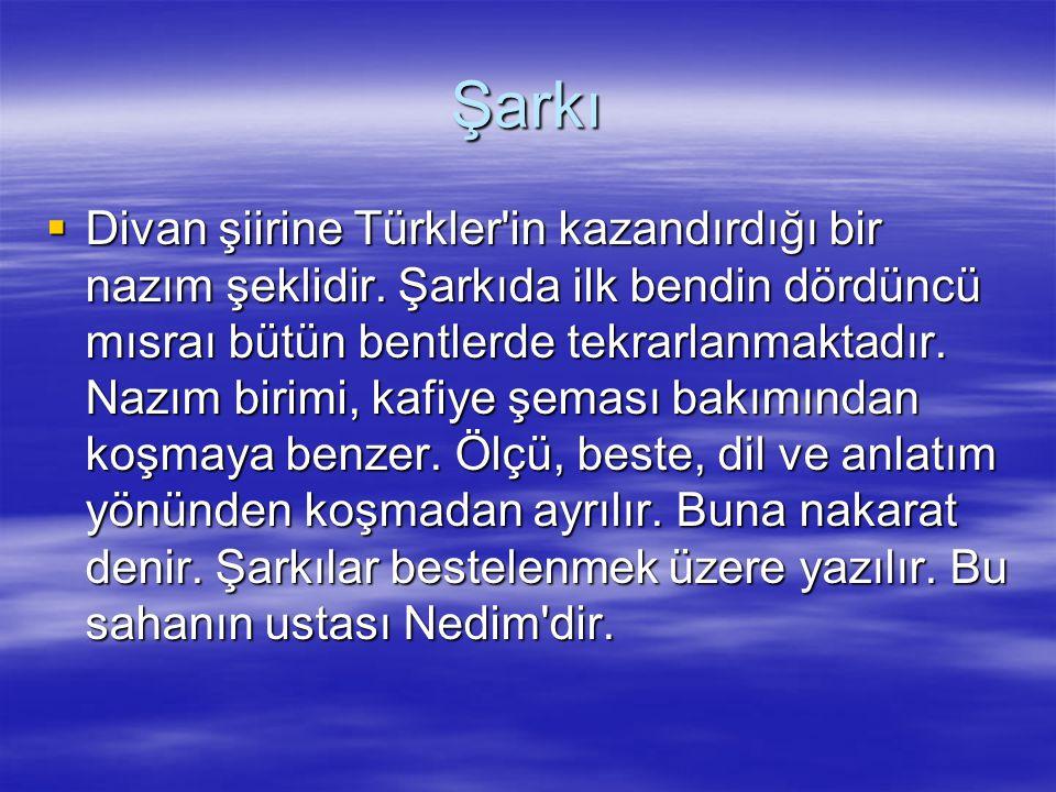 Şarkı  Divan şiirine Türkler'in kazandırdığı bir nazım şeklidir. Şarkıda ilk bendin dördüncü mısraı bütün bentlerde tekrarlanmaktadır. Nazım birimi,