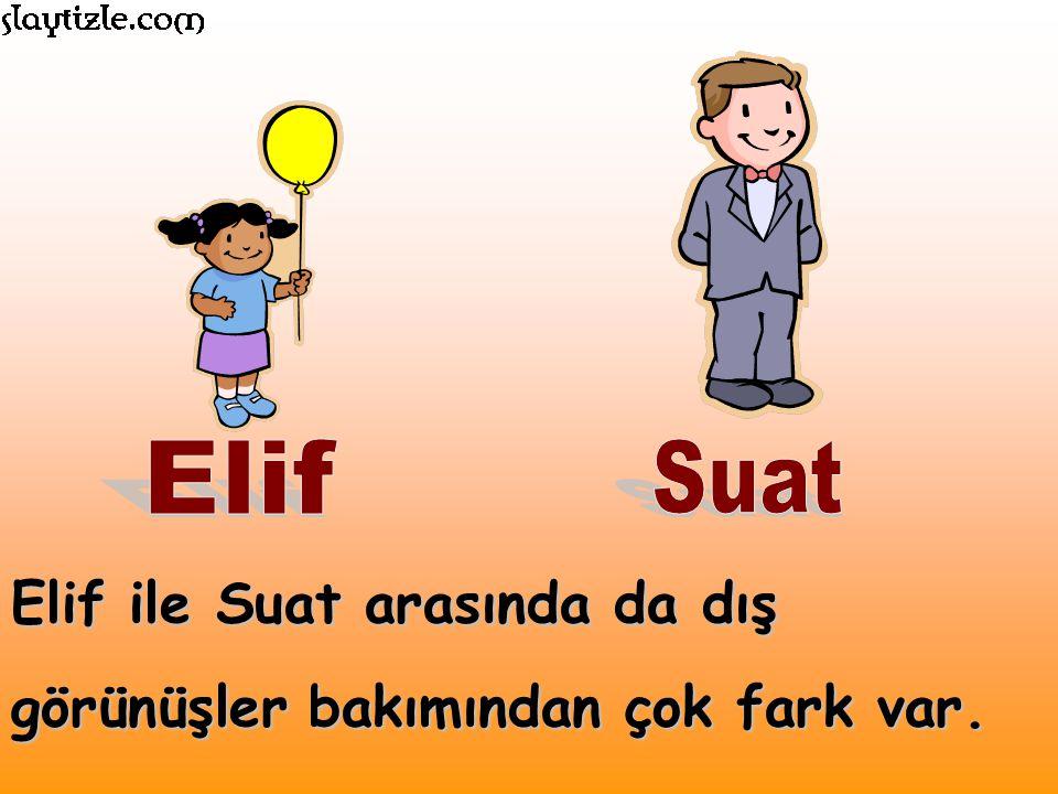 Elif ile Suat arasında da dış görünüşler bakımından çok fark var.