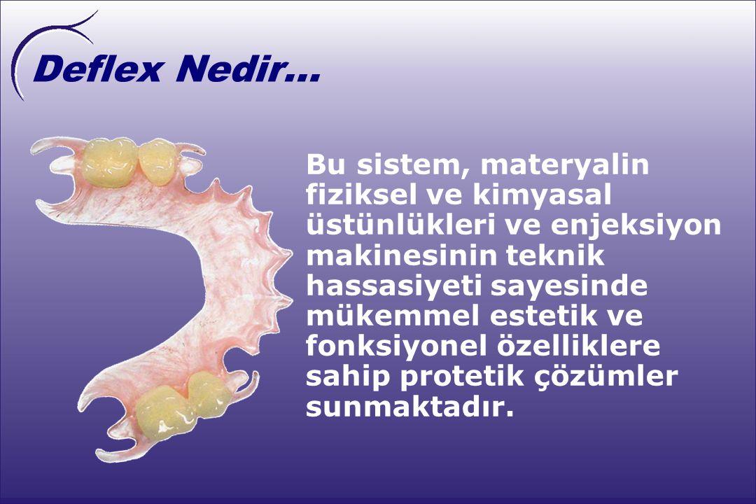 Deflex Nedir... Deflex, Yüksek Tesirli Poliamid adı verilen ve termo-enjeksiyon yöntemi ile tatbik edilen yarı-sert özellikte bir materyalden yapılmış