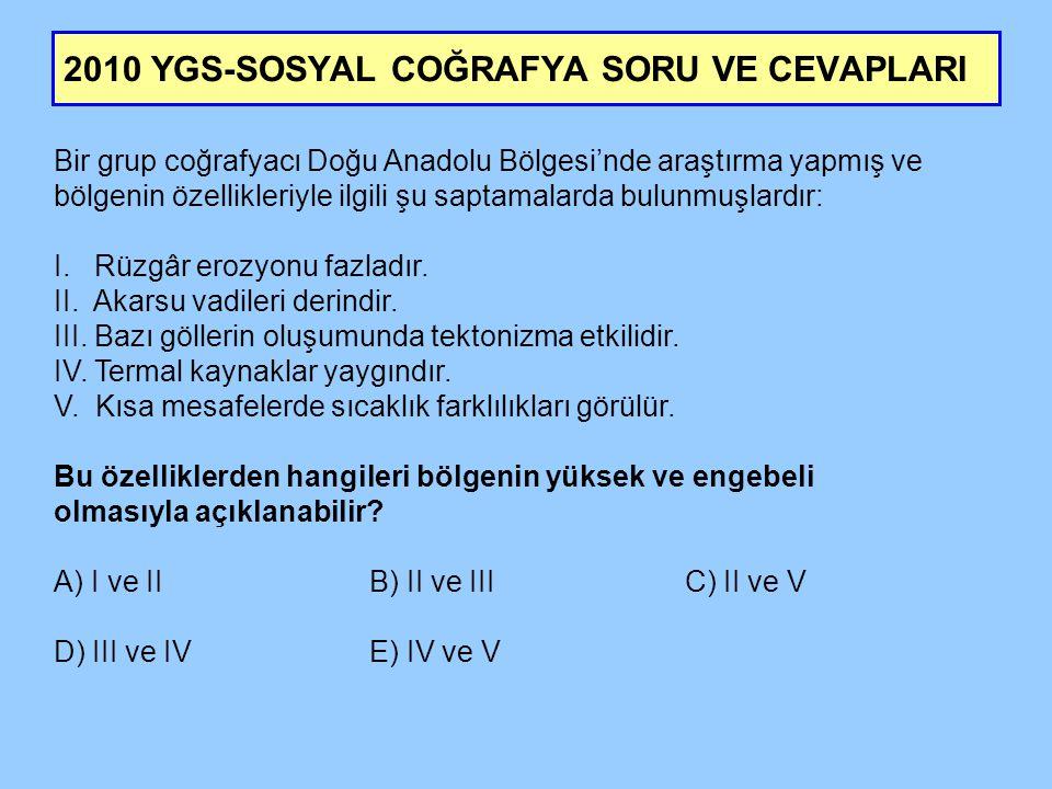 2010 YGS-SOSYAL COĞRAFYA SORU VE CEVAPLARI Bir grup coğrafyacı Doğu Anadolu Bölgesi'nde araştırma yapmış ve bölgenin özellikleriyle ilgili şu saptamal