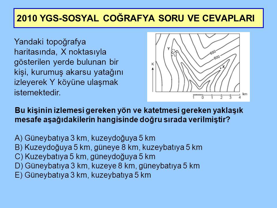 2010 YGS-SOSYAL COĞRAFYA SORU VE CEVAPLARI Dış kuvvetler tarafından taşınan malzemelerin birikmesiyle oluşan ve horizonları olmayan topraklara aşağıdaki yerlerin hangisinde rastlanmaz.