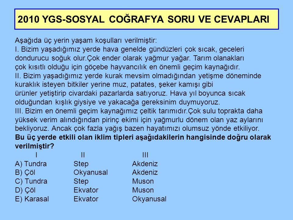 2010 YGS-SOSYAL COĞRAFYA SORU VE CEVAPLARI Aşağıda üç yerin yaşam koşulları verilmiştir: I.