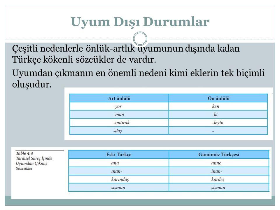 Uyum Dışı Durumlar Çeşitli nedenlerle önlük-artlık uyumunun dışında kalan Türkçe kökenli sözcükler de vardır. Uyumdan çıkmanın en önemli nedeni kimi e