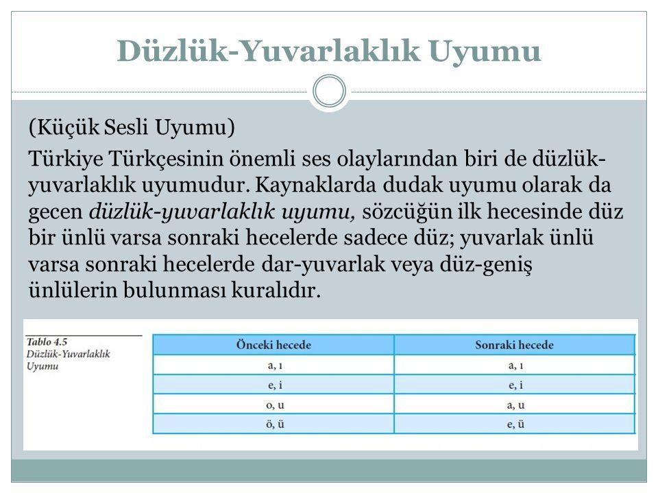 Düzlük-Yuvarlaklık Uyumu (Küçük Sesli Uyumu) Türkiye Türkçesinin önemli ses olaylarından biri de düzlük- yuvarlaklık uyumudur. Kaynaklarda dudak uyumu