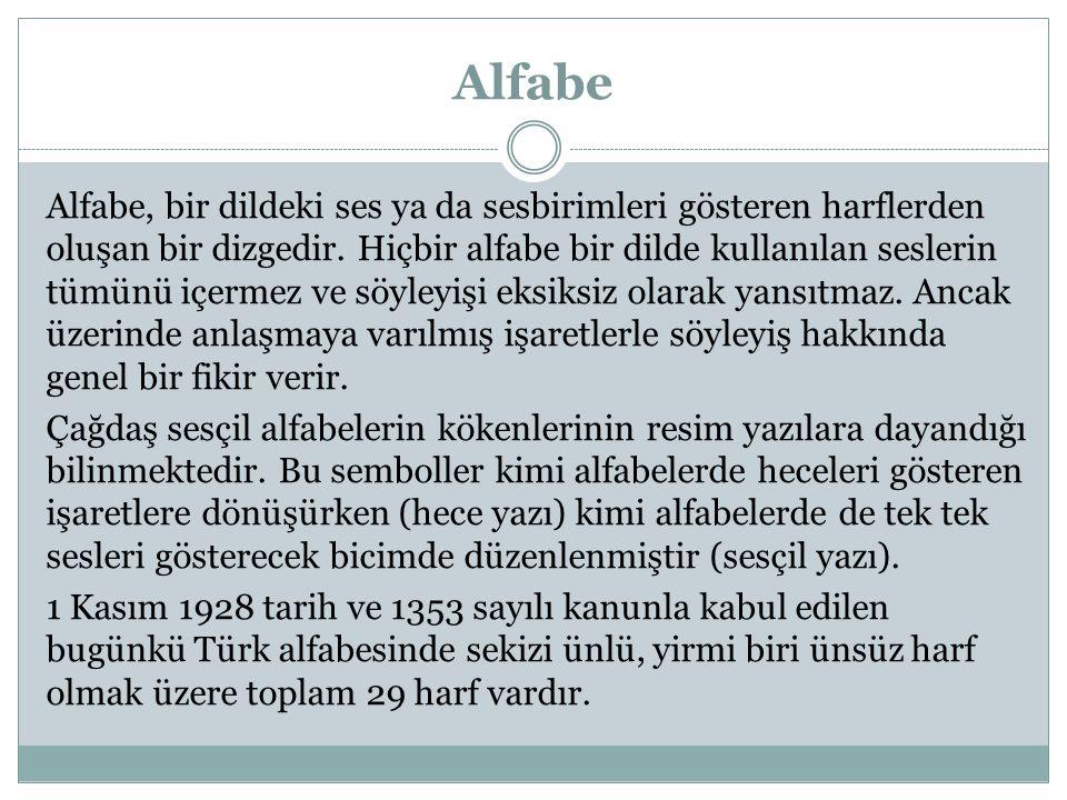 Alfabe Alfabe, bir dildeki ses ya da sesbirimleri gösteren harflerden oluşan bir dizgedir. Hiçbir alfabe bir dilde kullanılan seslerin tümünü içermez