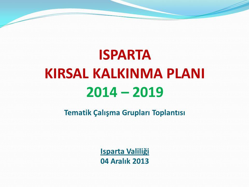 ISPARTA KIRSAL KALKINMA PLANI 2014 – 2019 Tematik Çalışma Grupları Toplantısı Isparta Valiliği 04 Aralık 2013