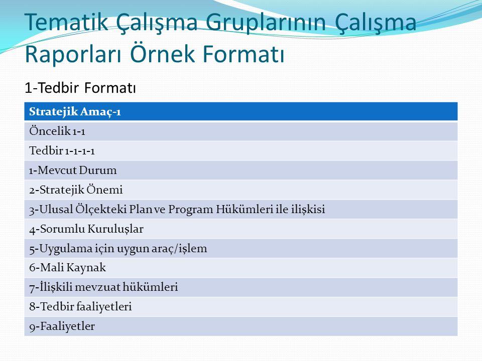 Tematik Çalışma Gruplarının Çalışma Raporları Örnek Formatı 1-Tedbir Formatı Stratejik Amaç-1 Öncelik 1-1 Tedbir 1-1-1-1 1-Mevcut Durum 2-Stratejik Önemi 3-Ulusal Ölçekteki Plan ve Program Hükümleri ile ilişkisi 4-Sorumlu Kuruluşlar 5-Uygulama için uygun araç/işlem 6-Mali Kaynak 7-İlişkili mevzuat hükümleri 8-Tedbir faaliyetleri 9-Faaliyetler