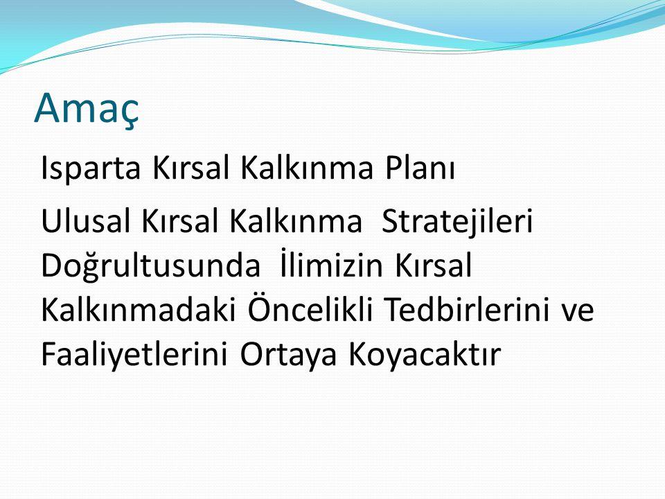 Amaç Isparta Kırsal Kalkınma Planı Ulusal Kırsal Kalkınma Stratejileri Doğrultusunda İlimizin Kırsal Kalkınmadaki Öncelikli Tedbirlerini ve Faaliyetlerini Ortaya Koyacaktır