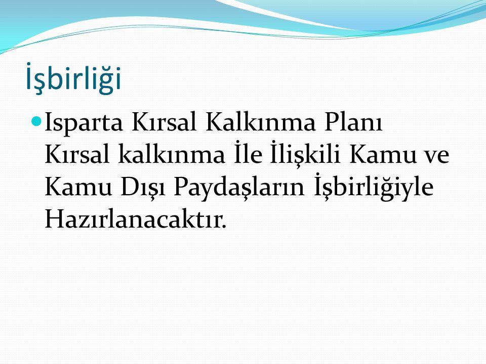 İşbirliği Isparta Kırsal Kalkınma Planı Kırsal kalkınma İle İlişkili Kamu ve Kamu Dışı Paydaşların İşbirliğiyle Hazırlanacaktır.