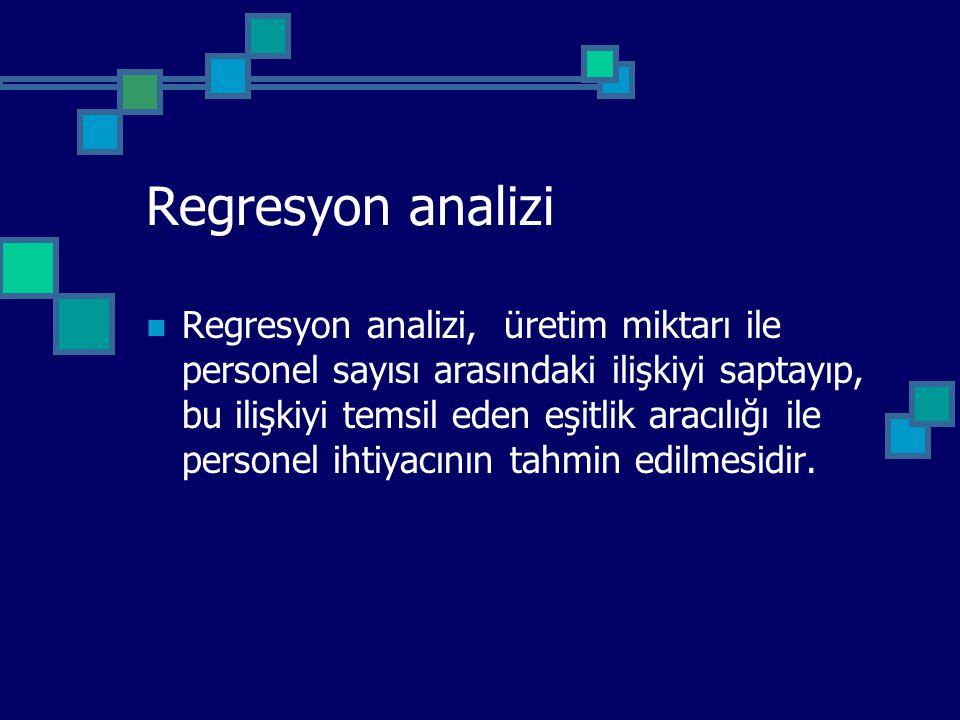 Regresyon analizi Regresyon analizi, üretim miktarı ile personel sayısı arasındaki ilişkiyi saptayıp, bu ilişkiyi temsil eden eşitlik aracılığı ile pe