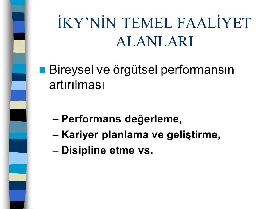 İKY'NİN TEMEL FAALİYET ALANLARI Bireysel ve örgütsel performansın artırılması –Performans değerleme, –Kariyer planlama ve geliştirme, –Disipline etme