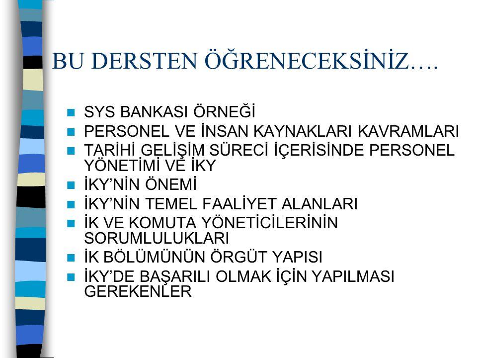 SYS BANKASI ÖRNEĞİ 1995 YILINDA KURULMUŞ BİR ULUSAL BANKADIR.