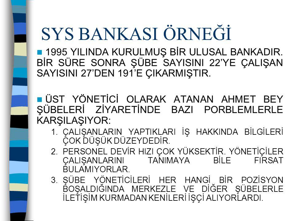 SYS BANKASI ÖRNEĞİ 1995 YILINDA KURULMUŞ BİR ULUSAL BANKADIR. BİR SÜRE SONRA ŞÜBE SAYISINI 22'YE ÇALIŞAN SAYISINI 27'DEN 191'E ÇIKARMIŞTIR. ÜST YÖNETİ