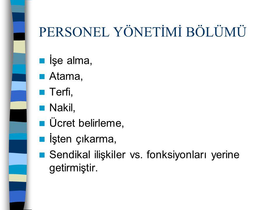 PERSONEL VE İNSAN KAYNAKLARI YÖNETİMİ Personel Yönetimi 1.