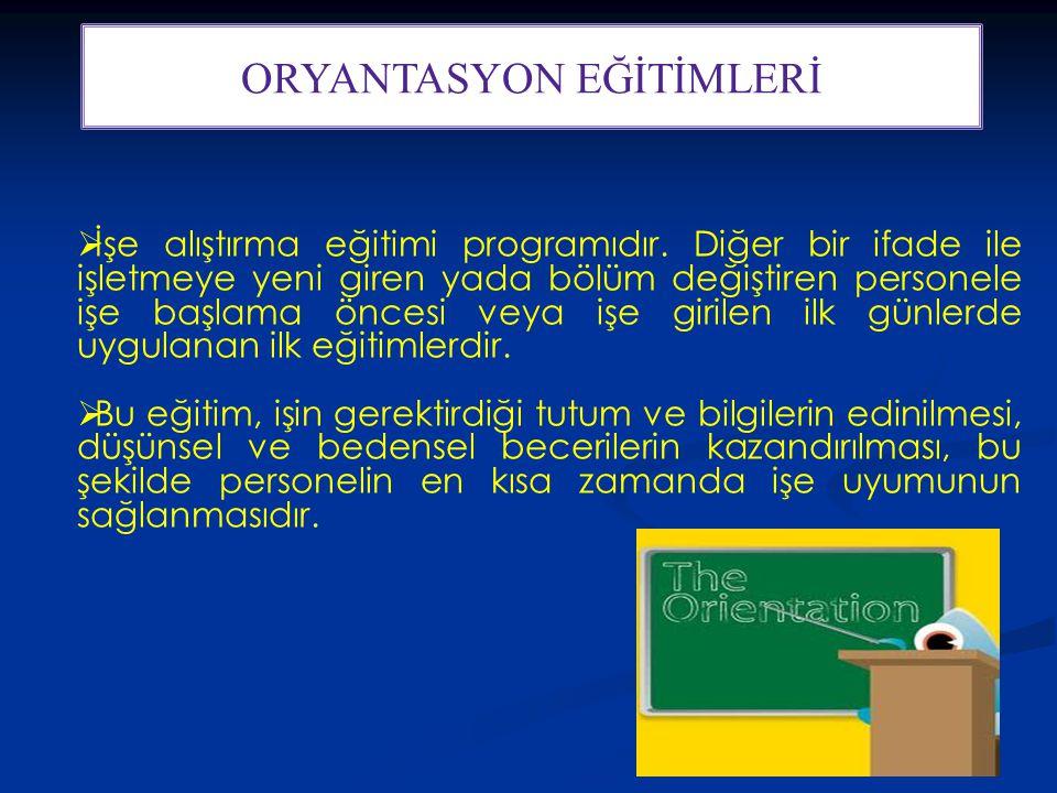 31 ORYANTASYON EĞİTİMLERİ  İşe alıştırma eğitimi programıdır.