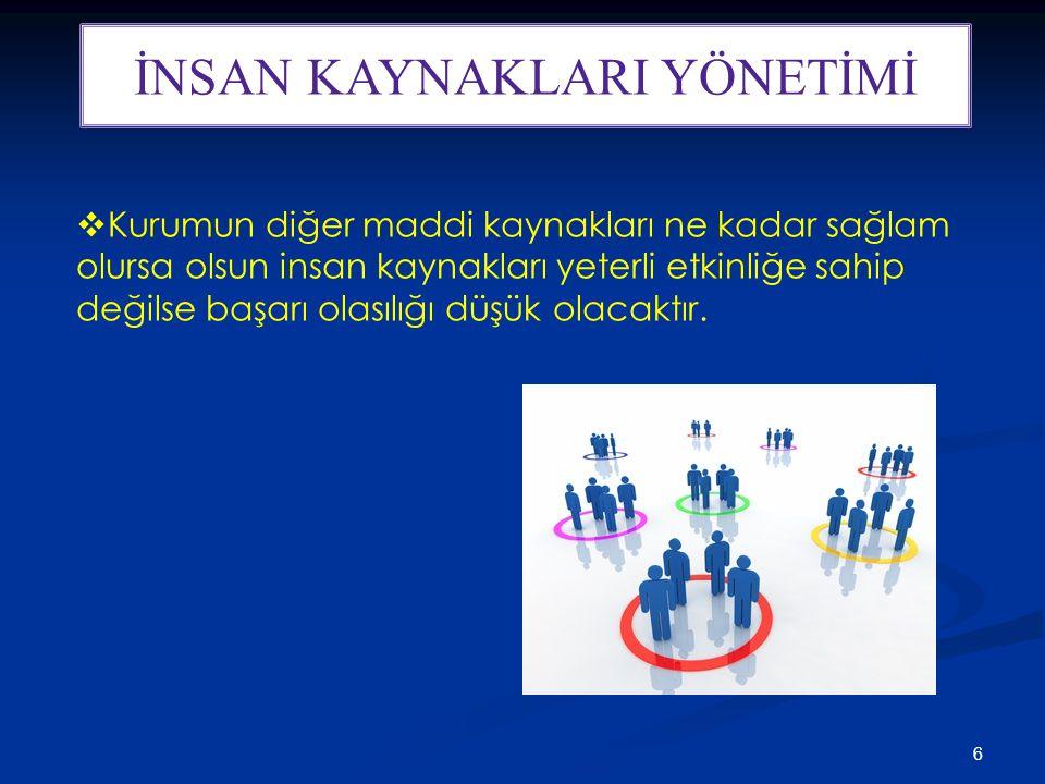 7 PERSONEL YÖNETİMİNDEN İKY'YE GEÇİŞ  İK Yönetimi insanı kaynak olarak görür ve verimliliğini artırma amacı taşır.