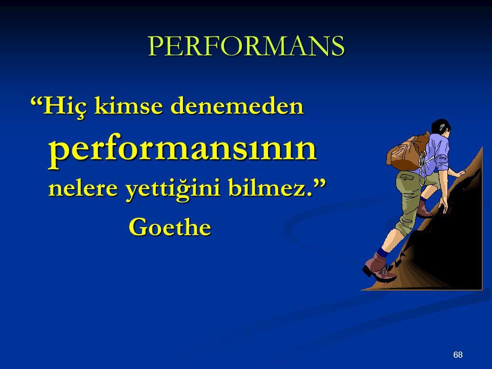 68 PERFORMANS Hiç kimse denemeden performansının nelere yettiğini bilmez. Goethe