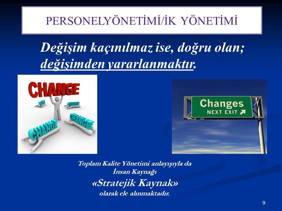 9 PERSONELYÖNETİMİ/İK YÖNETİMİ Değişim kaçınılmaz ise, doğru olan; değişimden yararlanmaktır. Toplam Kalite Yönetimi anlayışıyla da İnsan Kaynağı «Str