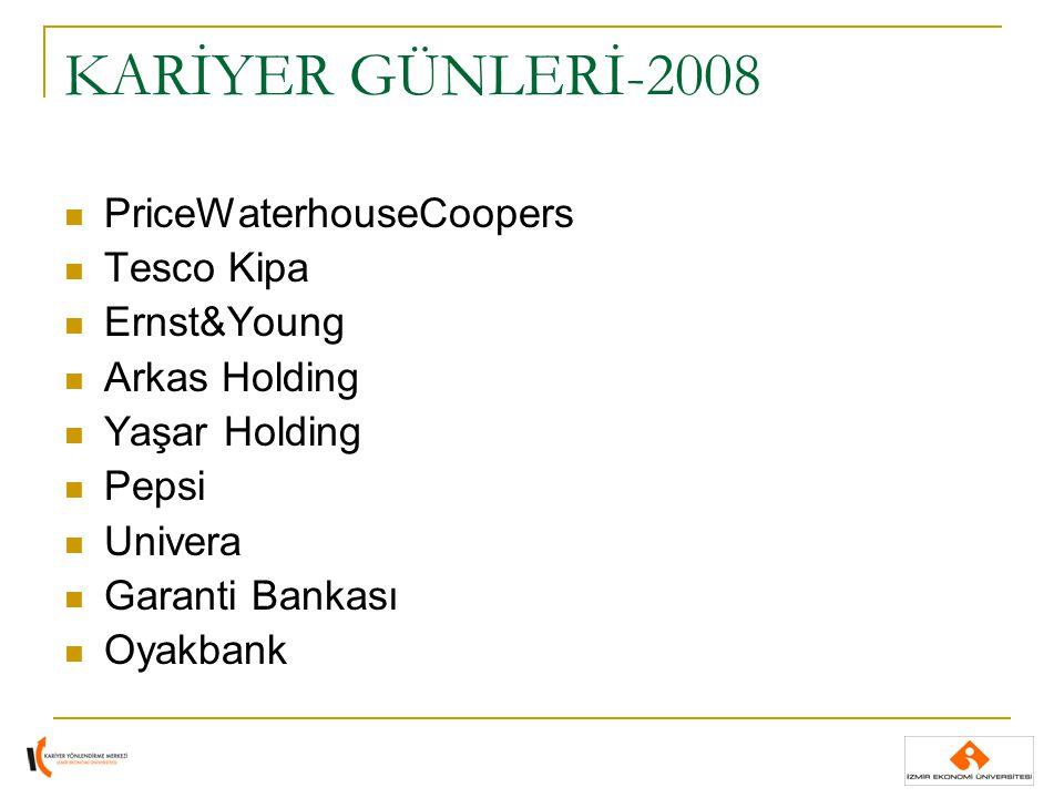 KARİYER GÜNLERİ-2008 PriceWaterhouseCoopers Tesco Kipa Ernst&Young Arkas Holding Yaşar Holding Pepsi Univera Garanti Bankası Oyakbank