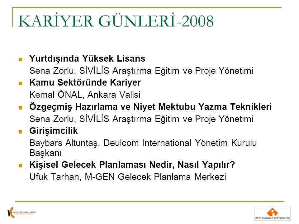 KARİYER GÜNLERİ-2008 Yurtdışında Yüksek Lisans Sena Zorlu, SİVİLİS Araştırma Eğitim ve Proje Yönetimi Kamu Sektöründe Kariyer Kemal ÖNAL, Ankara Valis