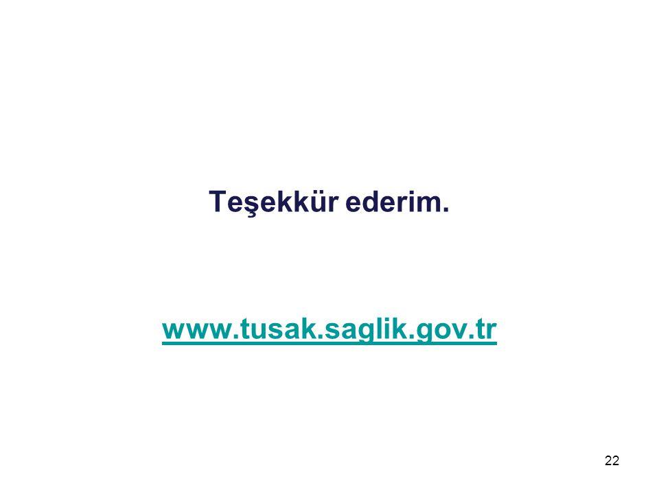 Teşekkür ederim. www.tusak.saglik.gov.tr 22