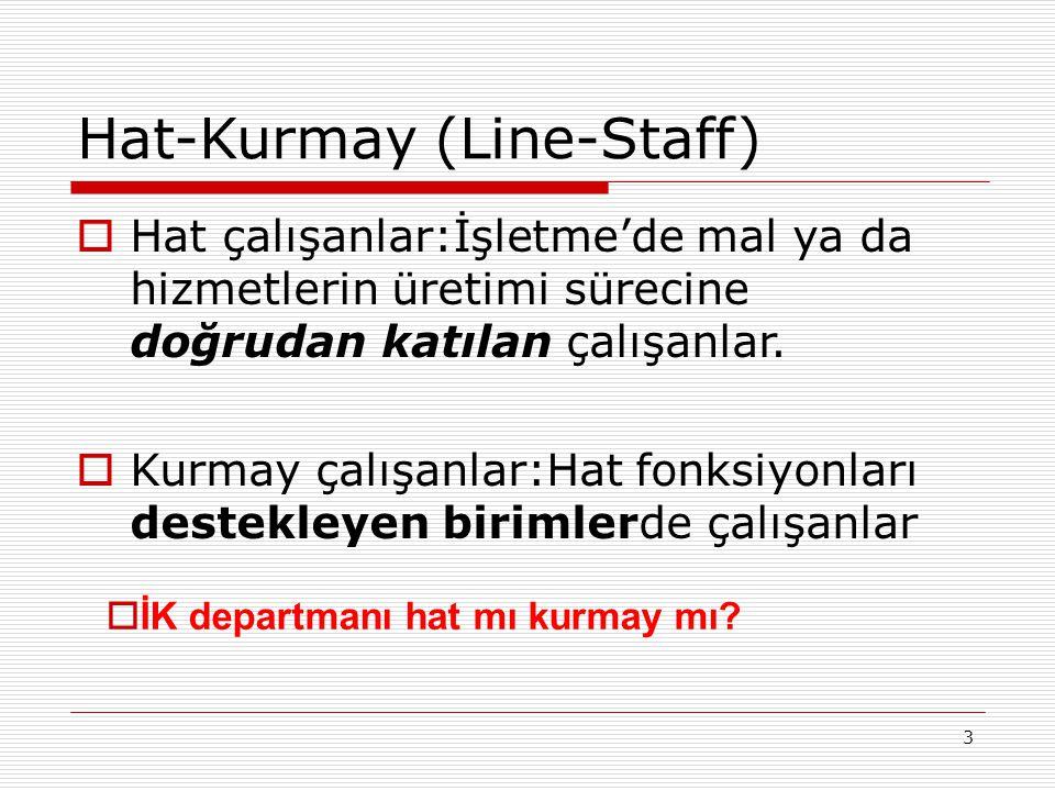 3 Hat-Kurmay (Line-Staff)  Hat çalışanlar:İşletme'de mal ya da hizmetlerin üretimi sürecine doğrudan katılan çalışanlar.