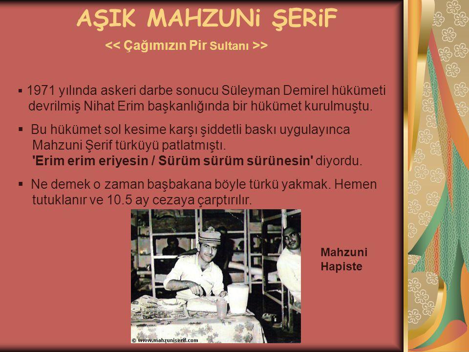 AŞIK MAHZUNi ŞERiF >  1971 yılında askeri darbe sonucu Süleyman Demirel hükümeti devrilmiş Nihat Erim başkanlığında bir hükümet kurulmuştu.  Bu hükü