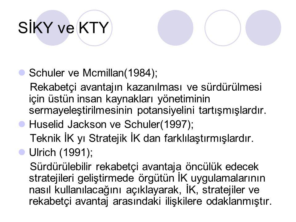SİKY ve KTY Schuler ve Mcmillan(1984); Rekabetçi avantajın kazanılması ve sürdürülmesi için üstün insan kaynakları yönetiminin sermayeleştirilmesinin