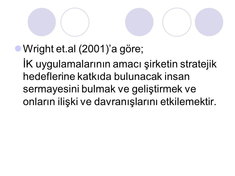 Wright et.al (2001)'a göre; İK uygulamalarının amacı şirketin stratejik hedeflerine katkıda bulunacak insan sermayesini bulmak ve geliştirmek ve onlar