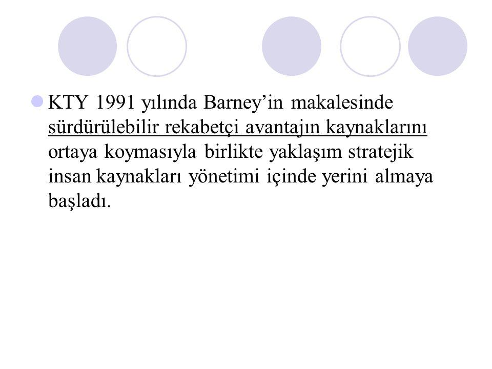 KTY 1991 yılında Barney'in makalesinde sürdürülebilir rekabetçi avantajın kaynaklarını ortaya koymasıyla birlikte yaklaşım stratejik insan kaynakları