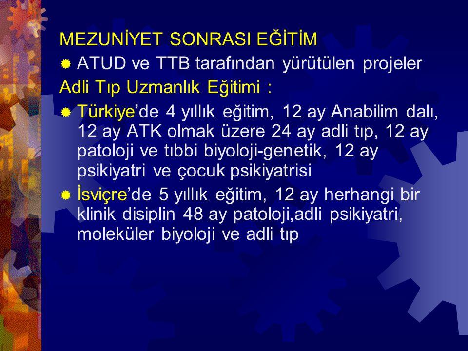 MEZUNİYET SONRASI EĞİTİM  ATUD ve TTB tarafından yürütülen projeler Adli Tıp Uzmanlık Eğitimi :  Türkiye'de 4 yıllık eğitim, 12 ay Anabilim dalı, 12