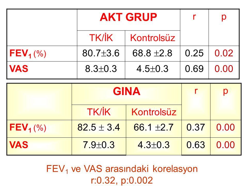 AKT GRUP rp TK/İKKontrolsüz FEV 1 (%) 80.7  3.668.8  2.8 0.250.02 VAS 8.3  0.34.5  0.3 0.690.00 GINA rp TK/İKKontrolsüz FEV 1 (%) 82.5  3.466.1 