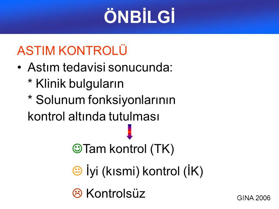 Astım kontrol düzeyleri (GINA 2006) ÖzellikKontrol altında (Hepsi) İyi (Kısmi) Kontrol (Herhangi bir haftada biri) Kontrolsüz Gündüz belirtileri Yok (  2 /hf) >2/hfHerhangi bir haftada iyi (kısmi) kontrol özelliklerinden 3 veya daha fazlası Aktivitelerde sınırlanma YokVar Gece belirtileri/uyanma YokVar Kurtarıcı ilaç ihtiyacı Yok (  2 /hf) >2/hf Solunum fonksiyonu (PEF ya da FEV1) Normal<%80 ya da kişinin en iyi değeri (biliniyorsa) AtaklarYok  1/ yıl Herhangi bir haftada bir kez