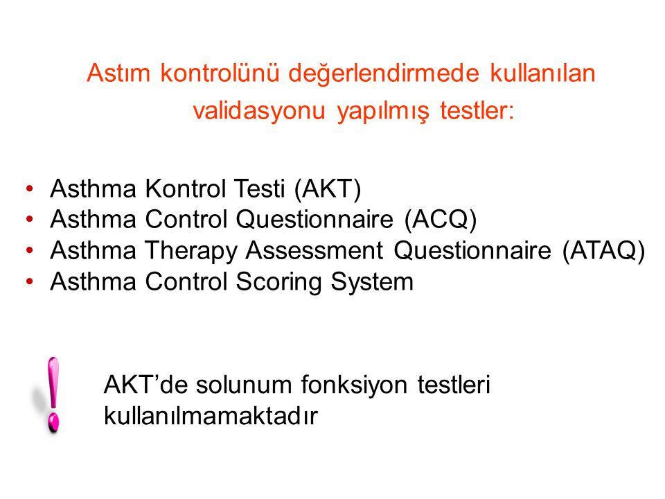 Astım Kontrol Testi (AKT) Asthma Control Test (ACT) 471 hasta 22 maddeli anket SFT AKT ve uzman değerlendirmesi arasındaki genel uyum %71-78 Güvenilirlik (5 madde) *Tüm hastalarda0.84 *Kontrolsüz0.83 *TK/İK0.79 Nathan RA, J Allergy Clin Immunol 2004;113:59