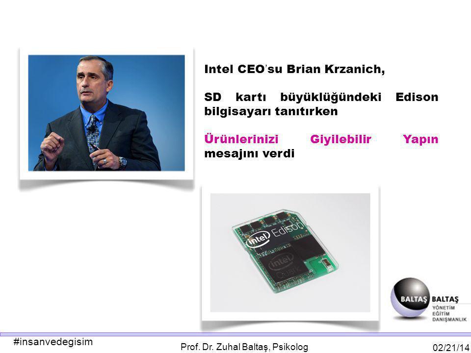 #insanvedegisim 02/21/14 Prof. Dr. Zuhal Baltaş, Psikolog Intel CEO ' su Brian Krzanich, SD kartı büyüklüğündeki Edison bilgisayarı tanıtırken Ürünler