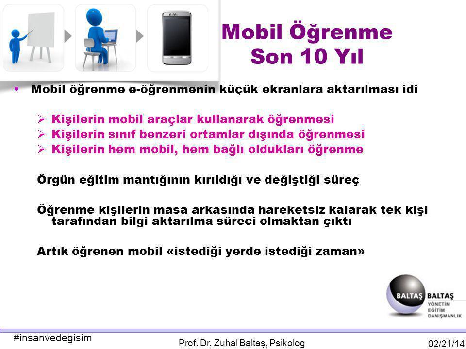 #insanvedegisim 02/21/14 Prof. Dr. Zuhal Baltaş, Psikolog Mobil Öğrenme Son 10 Yıl Mobil öğrenme e-öğrenmenin küçük ekranlara aktarılması idi  Kişile